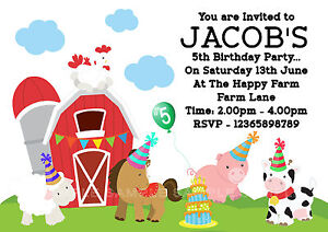 Details About 10 Personalised Party Time Farm Animals Farmyard Birthday Party Invitations