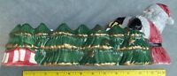 Ceramic Santa With Evergreens Snack Cracker Serving Bowl 11 X 13 Inch