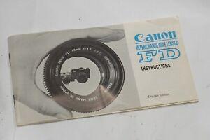 Aimable Canon 1970 S Fd Lens Manuel D'instructions, Véritables Instructions Pour Ssc Objectif 35 Mm-afficher Le Titre D'origine
