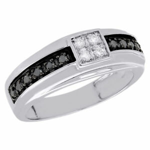 10k White Gold Mens Black Diamond Wedding Band Square Engagement