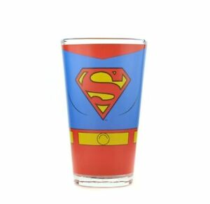 Details About Dc Superman Classic Costume Design Large Glass Tumbler