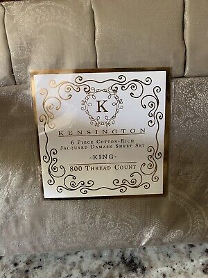 Kensington 800 Thread Count Jacquard Damask 6pc King Sheet Set Oxford Tan Ebay