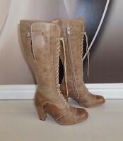 Nwob Belstaff Betty Knee High Real Leather Biker Boots Size 4 Without Box