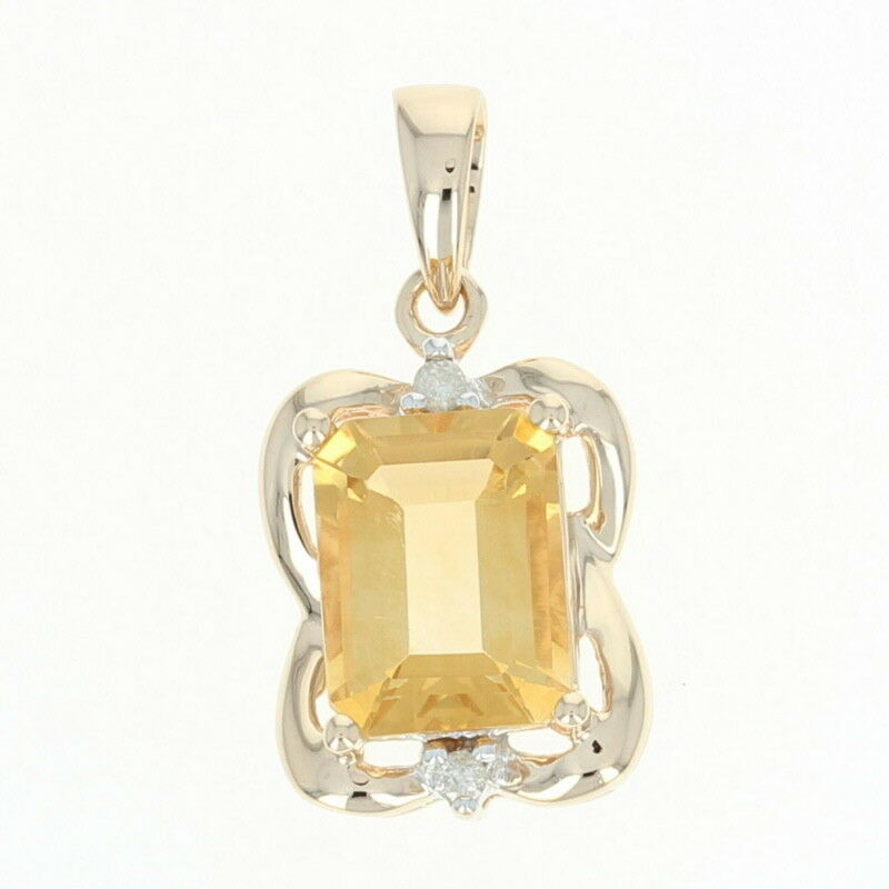 Citrine & Diamond Pendant - 14k gold Emerald Cut 2.28ctw