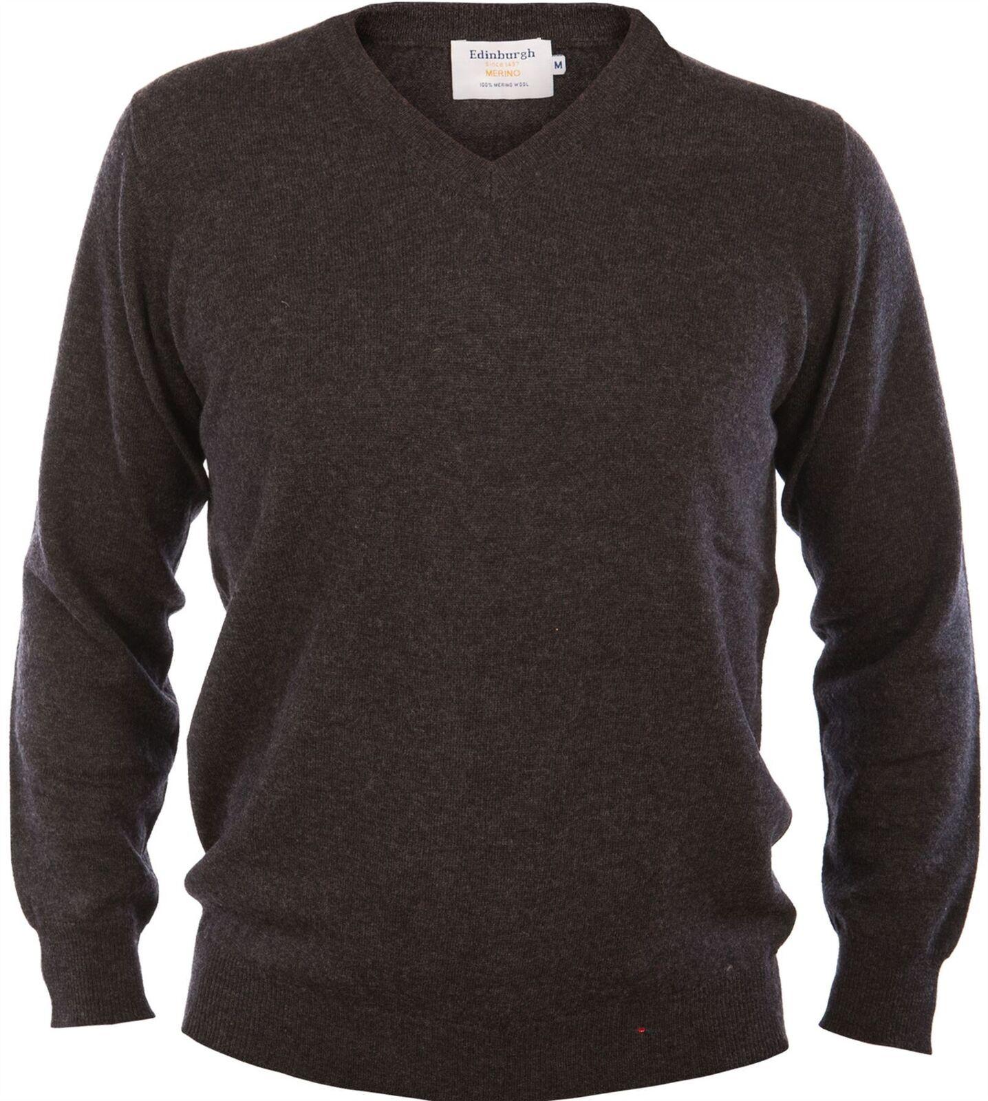 Da Uomo Merino Wool Sweater V-Neck Maglione Plain antracite antracite antracite 2X-LARGE 82fd55