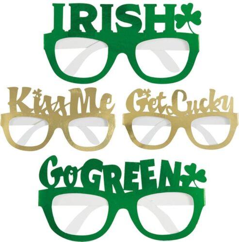 Unisexe St Patrick Jour Feuille Lunettes Adultes Irlandais Parti porter des lunettes Pack de 4