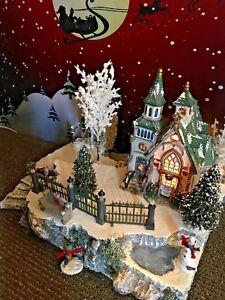 Christmas Village Platform.Details About Christmas Village Display W Pond Stairs Dept 56 Snow Village Platform Base