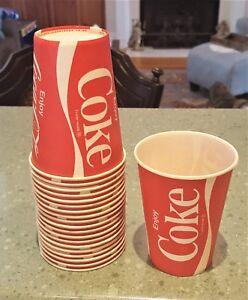 20 Vintage ENJOY COKE COCA-COLA Wax Paper 8oz Cups unbranded NOS Vintage Vtg