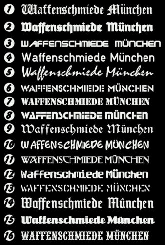 90 cm lang Freie Wahl! Waffenschmiede München 16 verschiedene Schriften!!