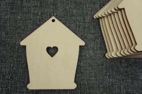 10 Stk Herz Haus Home Holz Liebe Schenken Dekorieren Basteln Verschönerer /WX57/