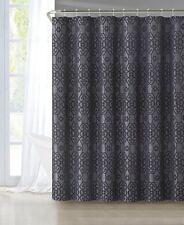 Luxury Home Silver Black Flocked Montgomery Shower Curtain Set 13 Piece