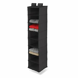 8-Shelf Hanging Organizer Closet Rod Black Fabric Storage Pant Bag Clothes New$