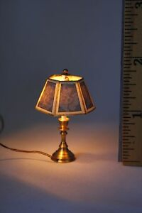 Dollhouse Miniature Table LAMP for 12V lighting 1:12 bluish-gray on shade WORKS