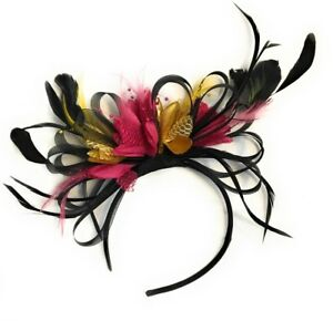 Image is loading Black-Gold-and-Fuchsia-Hot-Pink-Fascinator-Headband- 67a3b32d1c4
