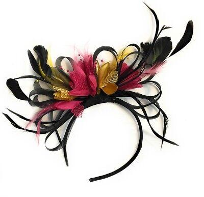 BESPOKE Black White Fuchsia Pink Fascinator Headband UK Wedding Ascot Races