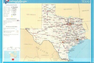 Map of Texas, Houston, Dallas, El Paso, Austin, Gulf of Mexico etc TX -  Postcard | eBay