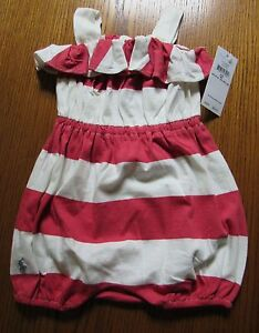 d23ea92bc NWT RALPH LAUREN CORAL & IVORY STRIPED RUFFLE BUBBLE SHORTALL ROMPER ...