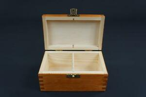 1x Alder Wooden Tea Box Tea Caddy Kitchen Chest 2 Compartments Storage H2o
