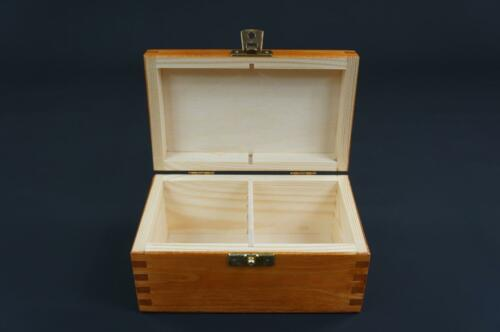 1x Alder Wooden Tea Box Tea Caddy Kitchen Chest 2 Compartments Storage H2o