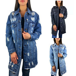 DAMEN JEANSJACKE LANG OVERSIZE BLAU DESTROYED STONE WASH DENIM JACKE MANTEL S-L