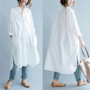 Details about Women Cotton Long Shirt Dress White Blouse Casual Baggy Loose Oversized Fashion