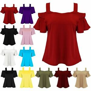 d4a8a3fc19e Ladies Womens Plain Wide Strappy Cold Cut Off Shoulder Peplum Sleeve ...