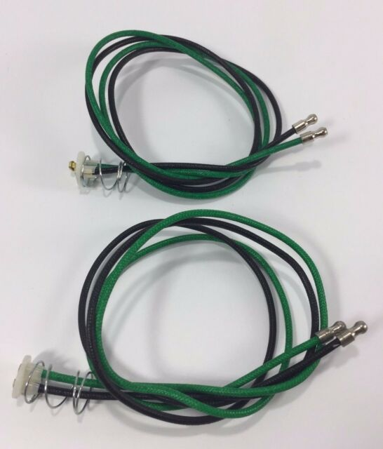 Pair 1157 Taillight Pigtail Wire Dual Contact Green Black Cloth ...