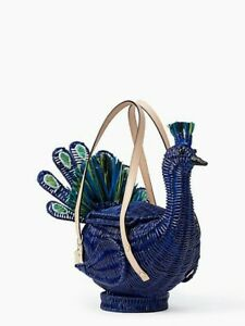Kate Spade Full Plume Wicker Peacock Bag RARE & EXOTIC Birds of a Feather