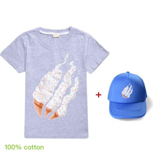 Bambini Ragazzi Ragazze prestonplayz Manica Corta Casual T-shirt Tee Tops CAPS HATS