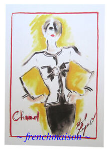 AUTHENTIC-CHANEL-Chic-Sketch-Karl-Lagerfeld-Card-Lipstick-Jacket-Haute-Couture