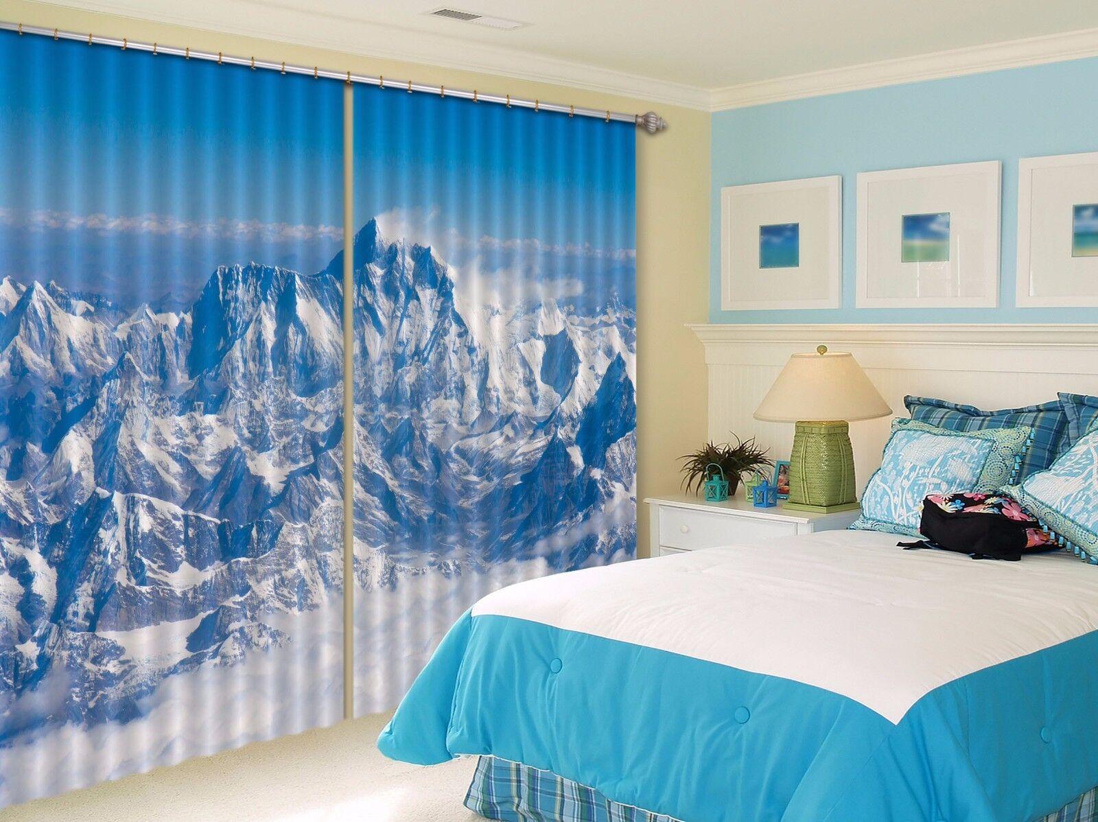 Montaña 3D 977 Cortinas de impresión de cortina de foto Blockout Tela Cortinas Ventana Reino Unido