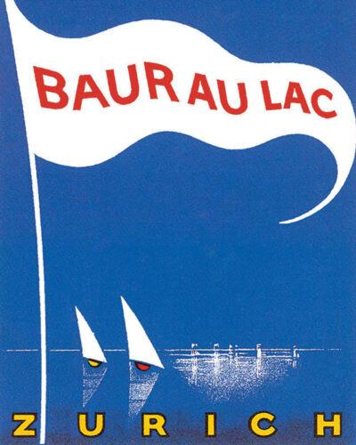 POSTER BAUR AU LAC LAKE ZURICH SWITZERLAND SAILING  VINTAGE REPRO FREE S//H