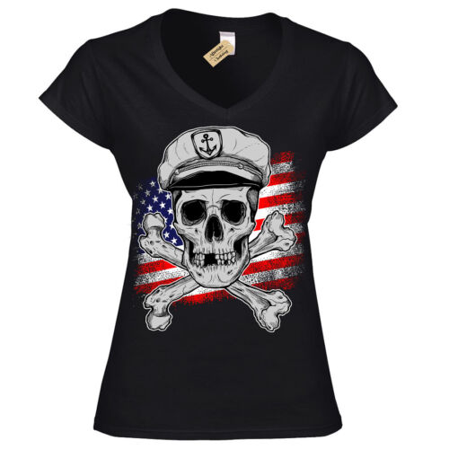 Le Capitaine T-shirt USA Crâne Bateau Navire Marine Crossbones T-Shirt Femme Ladies V-Neck