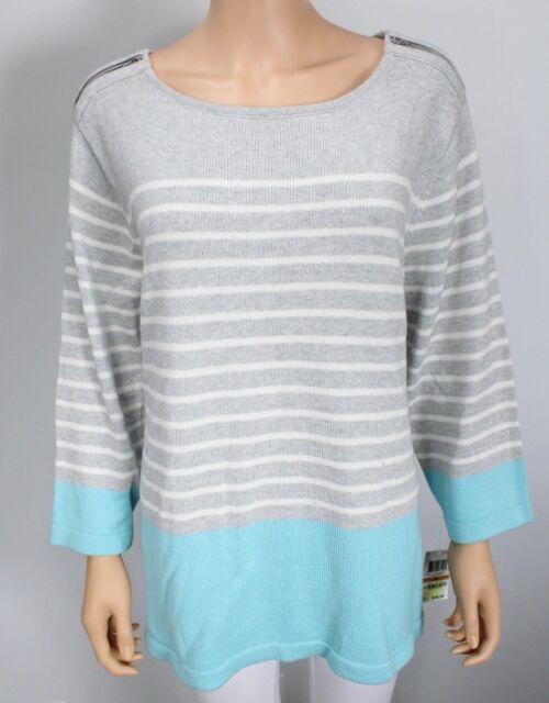 Karen Scott Plus Size Colorlblocked 3/4 Sleeve Sweater Gray Angel Blue size 3X