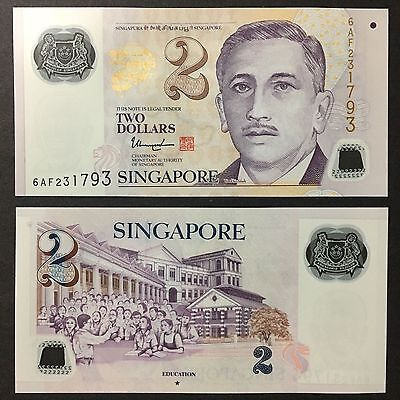 2017 SINGAPORE 2 DOLLARS POLYMER P-NEW UNC LOT 5 PCS/> /> />W//1 SOLID STAR THARMAN