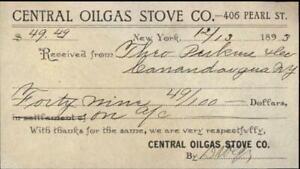 1893 NEW YORK New York (NY) EUA Receipt CENTRAL OILGAS STOVE CO. THEO PERKINE