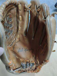 Rawlings-RBG36-Brown-Leather-Dale-Murphy-LHT-Hinged-Pad-Baseball-Glove-Vtg