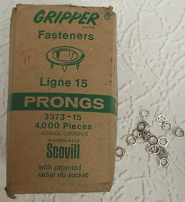 3800 Prongs for Gripper Fasteners studs Ligne 15 Nickel Vintage 1980s Scovill