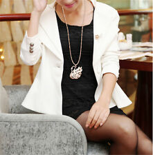 Korea Fashion Women Cat Eye Crystal Swan Pendant Necklace Long Sweater Chain