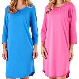 Ladies Slenderella 100% Cotton Nightdress 3 4 Sleeve Plain Lace Trim ... da9b200ec