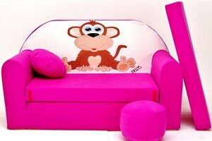 KIDS-BEDS-SOFA-BED-CHILDS-FURNITURE-FREE-POUFFE-FOOTSTOOL-amp-CUSHION