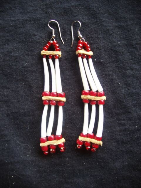 dentalium shell earrings with red white-heart beads and deerskin