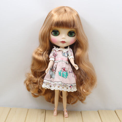 "New 12/"" Blythe Doll Nude Long Curly blond hair from factory matte skin face 1626"