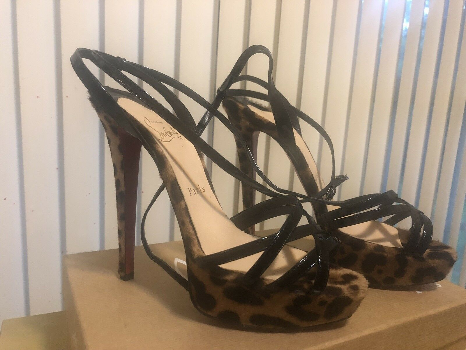 100 Authentic Women Louboutin Leopard Print Made From Pony Hair  Worn 1X