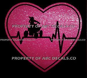 VRS Heartbeat Heart ATV ALL TERRAIN VEHICLE OFFROAD BIKE FEMALE CAR METAL DECAL