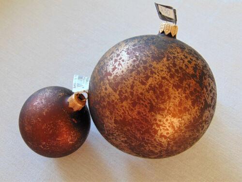 Weihnachten- braun-gold mundgeblasen /& handbemalt CHRISTBAUMKUGEL DRESCHER