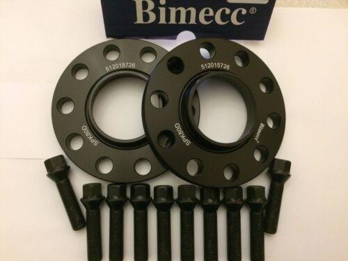 10 x 50mm Bulloni Adatto a BMW 72.6 m14x1.25 20mm BIMECC Nero Hub Centric Distanziatori