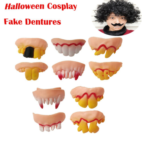 10pcs Halloween Cosplay Fake Dentures Vampire Teeth Tooth Zombie Party joke toy