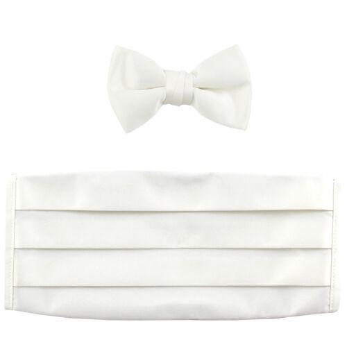 NEW in box 100% polyester boys kids Cummerbund & bowtie set formal white