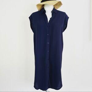 NWT Eileen Fisher Classic Shirt Silk Dress Women's Size XS